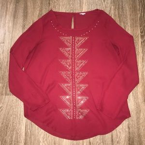 Women's Maroon Long Sleeve Blouse, Size Large